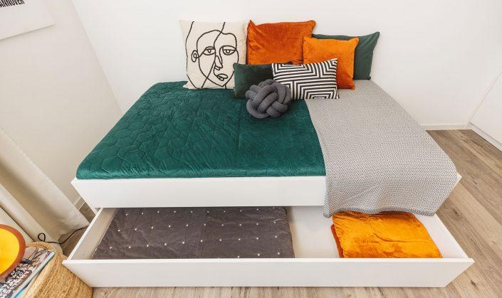 Cube Life, Objekt Hainbase Hannover, Abbildung des Bettes mit Bettkasten