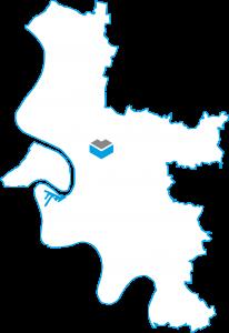 Darstellung einer Karte von Düsseldorf mit dem Projekt Heinrichstraße der Cube Life