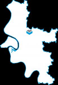 Darstellung einer Karte von Düsseldorf mit dem Projekt Barton Living der Cube Life