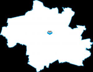 Darstellung einer Karte von München mit dem Projekt Flair Schwabing der Cube Life