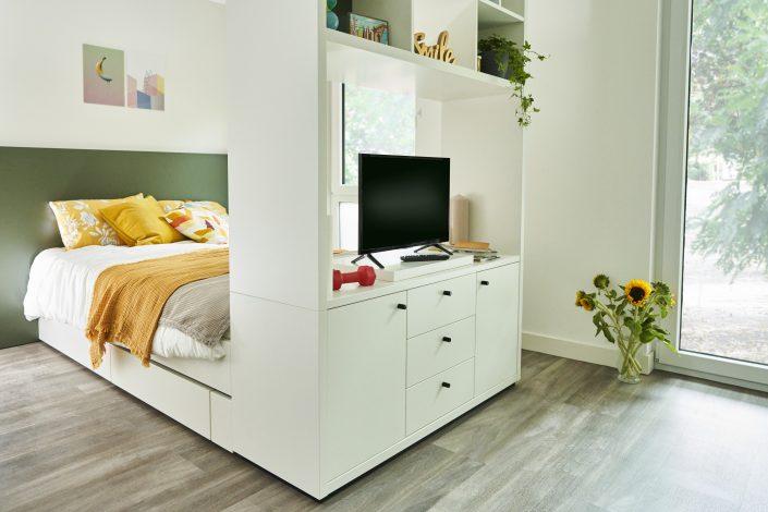 Schlafbereich in einem Apartment in der urban Base in Wiesbaden