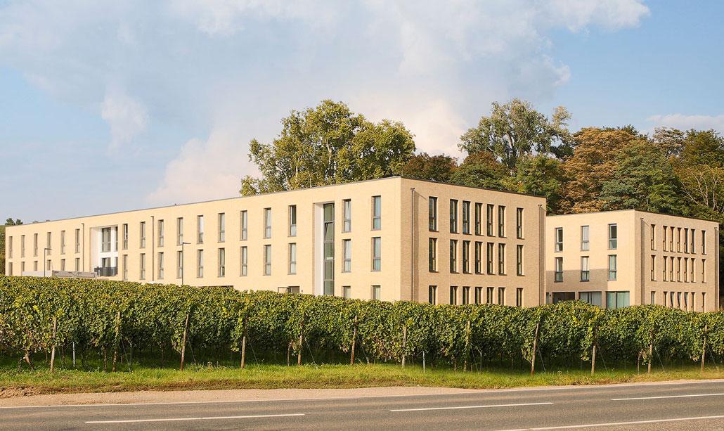 Ansicht der Fassade des Objektes in Oestrich-Winkel, Cube Life